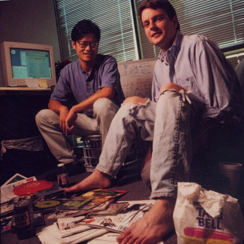 Jerry Yang y David Filo, creadores de Yahoo.