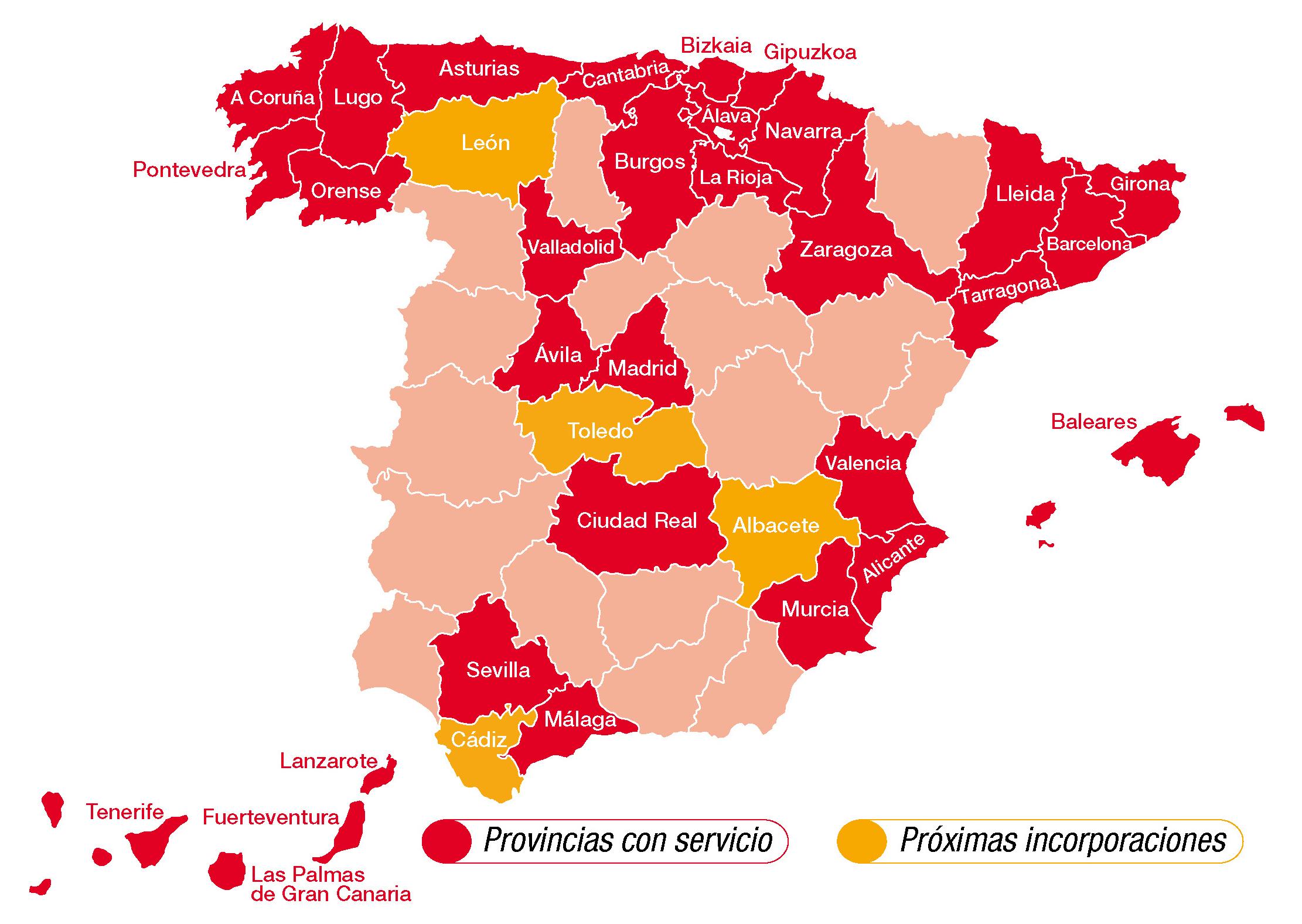 Mapa cobertura Fibra Segura