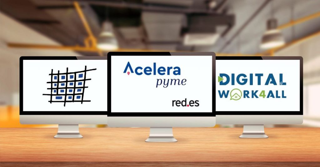 Programas Inplantalariak de la SPRI, Acelera pyme de Red.es y Digital Work 4 All del Centro Vasco de Ciberseguridad de ayudas a las pymes para disponer de soluciones de teletrabajo.